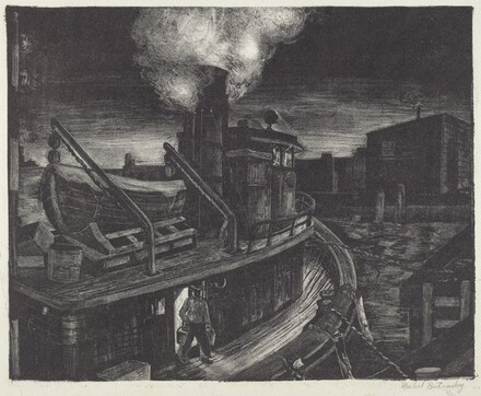 Untitled (Tugboat Tied-up to a Dock at Night)