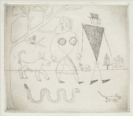 Untitled (Man and Woman Walking a Dog)