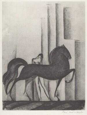 Untitled (Profile Horse and Woman)