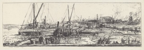 Untitled (Depicting Dock and Barges)
