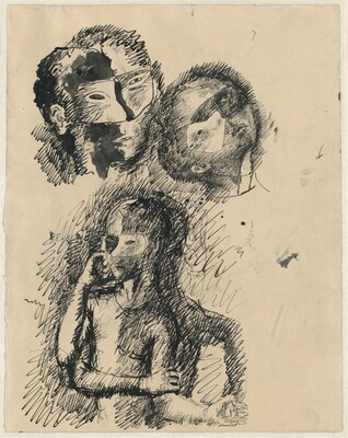 Masked Heads and a Figure (verso)