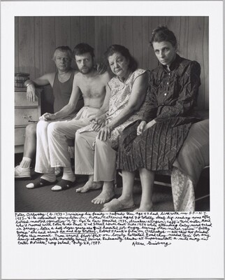 "Peter Orlovsky (b. 1933 –) visiting his family — Lafcadio then age 47 had lived with us S.F – N.Y. 1955 – '61 & intermittent years later on; Mother Katherine aged 78 totally deaf lip-reading some after botched mastoid operation N.Y. Eye & Ear Hospital 1933, drunken surgeon; Laff's twin sister Maril who'd roomed with Peter & me East 2'nd Street Lower East Side 1959 while attending baby-nurse school in Jersey, later a half-dozen years she quit hospital job angry hearing other nurse voices' ""filthy gossip"" she said about Me and My Brother, Robert Frank's film on Orlovskys— all this two decades before this moment. From second floor flat on lonely Cottontail Road they needed taxi for any heavy shopping with monthly Social Service Indemnity checks at Supermarket a mile away in Center Moriches, Long Island. July 26, 1987."