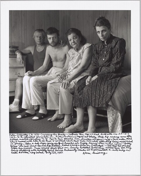 """Peter Orlovsky (b. 1933 –) visiting his family — Lafcadio then age 47 had lived with us S.F – N.Y. 1955 – '61 & intermittent years later on; Mother Katherine aged 78 totally deaf lip-reading some after botched mastoid operation N.Y. Eye & Ear Hospital 1933, drunken surgeon; Laff's twin sister Maril who'd roomed with Peter & me East 2'nd Street Lower East Side 1959 while attending baby-nurse school in Jersey, later a half-dozen years she quit hospital job angry hearing other nurse voices' """"filthy gossip"""" she said about Me and My Brother, Robert Frank's film on Orlovskys— all this two decades before this moment. From second floor flat on lonely Cottontail Road they needed taxi for any heavy shopping with monthly Social Service Indemnity checks at Supermarket a mile away in Center Moriches, Long Island. July 26, 1987."""