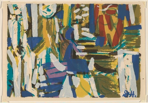 Untitled (Abstraction in blue, white, red)