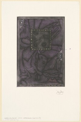 Untitled (Purple Mezzotint) [working proof with watercolor additions]