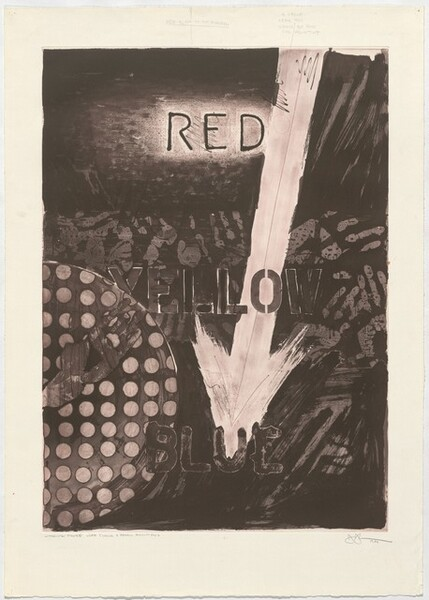 Untitled (Red) [working proof with chalk and pencil additions]