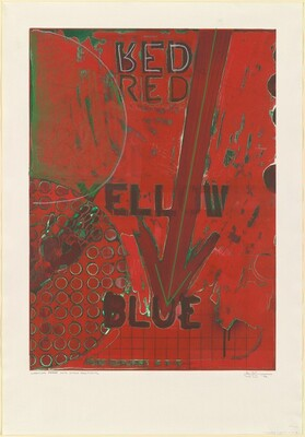 Untitled 1998 (RYB Green/Blue) [Red, working proof with chalk additions]