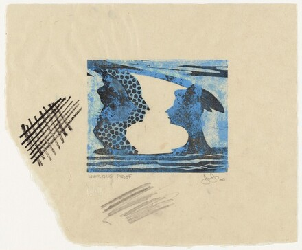 Untitled (Linocut) Frontispiece for poem Sun on 6 by Jeff Clark) [working proof]