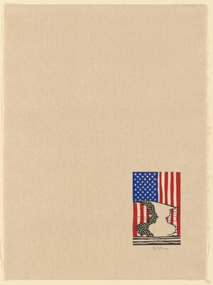 Flag and Vase (unfolded menu [without calligraphy])