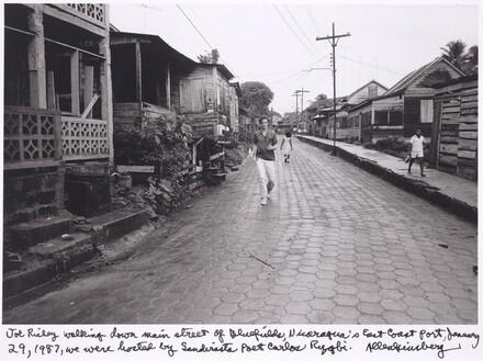 Joe Richey walking down main street of Bluefields, Nicaragua's East coast port, January 29, 1987, we were hosted by Sandinista poet Carlos Rigby