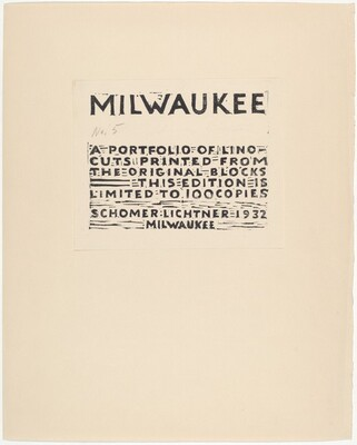 Frontispiece for Milwaukee Portfolio of Lino-cuts