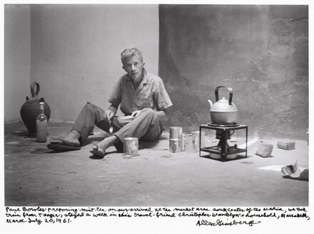 Paul Bowles preparing mint tea on our arrival at the market area souk center of the medina, we took train from Tangier, stayed a week in his travel friend Christopher Wanklyn's household, Marrakech, Morocco, July 20, 1961