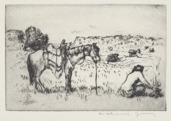 Navajo Woman and Pony