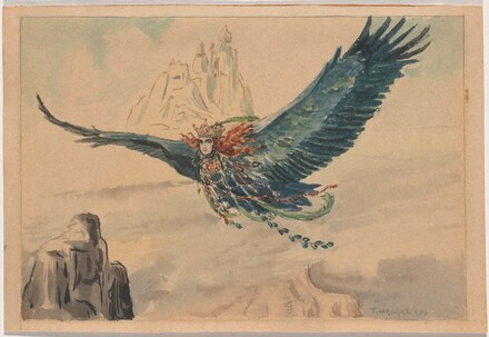 A Winged Sorceress Soaring above Mountains