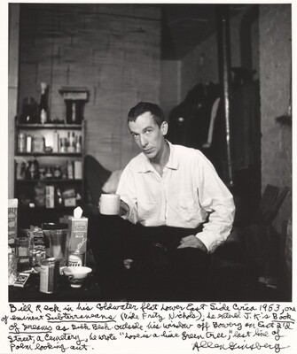 Bill Reck in his coldwater flat Lower East Side circa 1953, one of eminent Subterraneans (Vide Frity Nichols); he entered J.K.'s Book of Dreams as Dick Beck. outside his window off Bowery and East 2'd Street, a cemetery, he wrote Love is a lime green tree, last line of poem looking out