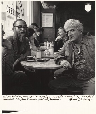 Rick McBride's glasses nose beard, Shig Murao & Jack Micheline, Trieste Cafe March 16, 1985, San Francisco, morning leisures.