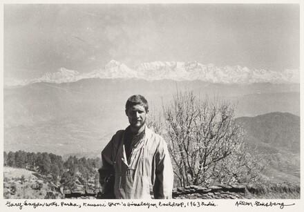 Gary Snyder with Parka, Kausani...Himalayan backdrop, 1963 India