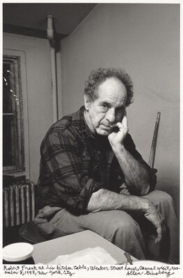 Robert Frank at his kitchen table, Bleeker Street house, casual visit, November 8, 1988, New York City.