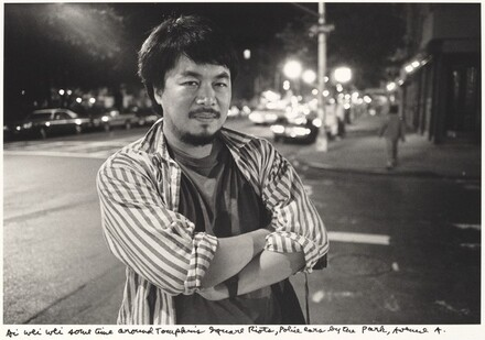 Ai Wei Wei sometime around Tompkins Square Riots, Police cars by the Park, Avenue A.