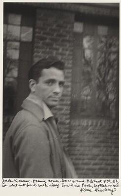 Jack Kerouac passing corner bar Avenue B & East 7th N.Y., we went out for a walk along Tompkins Park, September 1953