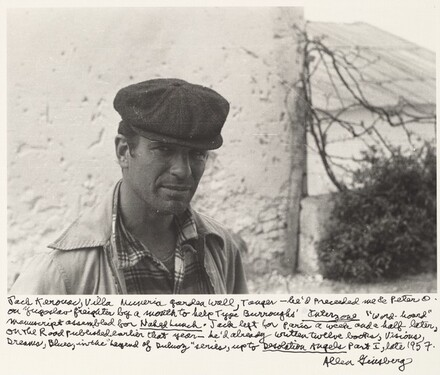 "Jack Kerouac, Villa Mouneria Garden Wall, Tangier—he'd preceded me & Peter O. on Yugoslav freighter by a month to help Type Burroughs' Interzone ""word-board"" manuscript assembled for Naked Lunch. Jack left for Paris a week and a half later, On the Road published earlier that year—he'd already written twelve books, Visions, Dreams, Blues, in the ""Legend of Duluoz"" series, up to Desolation Angels Part I, late 1957."
