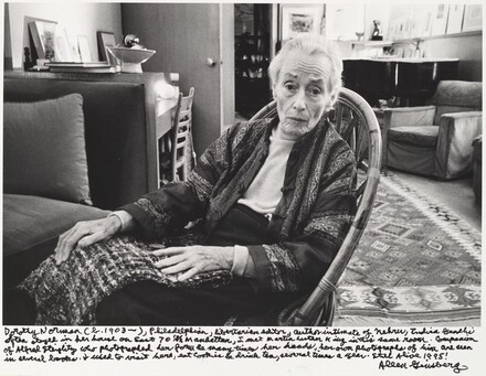 Dorothy Norman (b. 1903-), Philadelphia, libertarian editor, author intimate of Nehru, Indira Gandhi often stayed in her house on East 70th Manhattan, I met Martin Luther King in this same room, Companion of Alfred Stieglitz who photographed her form so many times her hands, her own photographs of him are seen in several books. I used to visit here, eat cookies & drinks tea, several times a year. Still Alive 1995!