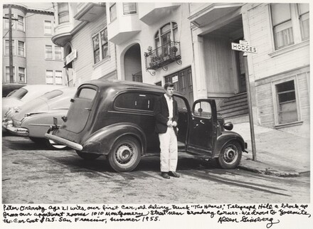 Peter Orlovsky age 21 with our first car, old delivery truck The Hearse, Telegraph Hill a block up from our apartment rooms 1010 Montgomery Street near Broadway Corner. We drove to Yosemite, the car cost $125. San Francisco 1955.