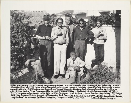 Peter Orlovsky legs crossed mysterious-haired, W.S. Burroughs with camera & hat shading Mediterranean sun, Myself white pants earnest, Alan Ansen...visiting from Venezia to help type new apocalyptic cut-up overflow material from Naked Lunch, Gregory Corso sunglasses & Minox'd, a gambler at casino, Ian Sommerville assisting sound-collage electronics & stroboscope alpha-rhythm. Dream Machine experiments with Bill B. & Brian Gysen then in town, Paul Bowles squinting in bright / mid-day light seated on ground, all assembled outside Bill's single room, Villa Muniria Garden, / my camera in Michael Portman's hands, Tangier March-July 1961.