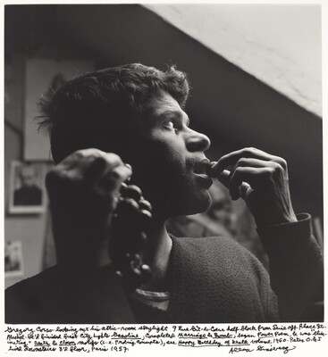 Gregory Corso looking out his attic-room skylight 9 Rue Git-le-Coeur half block from Seine off Place St. Michel. He had finished first City Lights Gasoline, completed Marriage & Bomb, begun Power Poem, & was eliminating Death & Clown motifs (i.e. Probing Concepts), see Happy Birthday of Death volume 1960. Peter O & I lived downstairs 3rd floor, Paris 1957.
