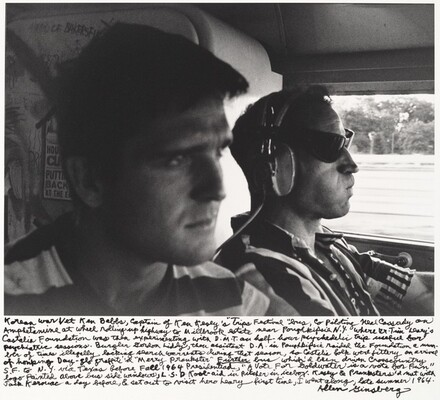 Korean War Vet Ken Babbs, Captain of Ken Kesey's Trips Festival bus, co piloting Neal Cassady on Amphetamine at wheel rolling up highway to Millbrook estate near Poughkeepsie N.Y. where Dr. Tim O'Leary's Castalia Foundation was then experimenting with D.M.T. on half hour psychedelic trip useful for psychiatric sessions. Burglar Gordon Liddy, then assistant D.A. in Poughkeepsie raided the Foundation a number of times illegally lacking search warrants during that season, so Castalia folk were jittery on arrival of honking Day-Glo graffit'd Merry Prankster Further bus which'd been driven cross-country S.F to N.Y. via Texas before Fall 1964 Presidentiad, A Vote for Goldwater is a Vote for Fun logo painted above bus side windows, L.S.D. Kool-Aid in pitcher in icebox. Kesey & Pranksters had met with Jack Kerouac a day before . . .