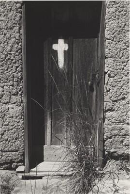 The morada door. Along the Purgatory River