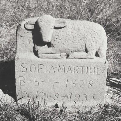Sandstone grave marker, Walsenburg, Colorado