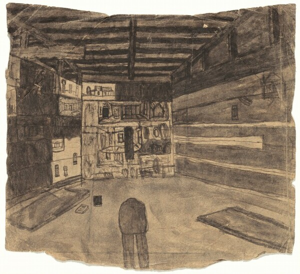 Untitled (Shed Interior with Pictures on Display) [recto]