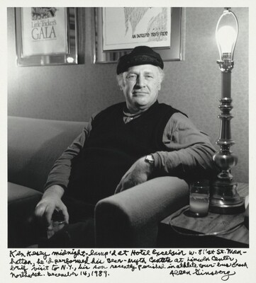 Ken Kesey midnight -- lamp'd at Hotel Excelsior w. 81st St. Manhattan, he'd performed his Bear-myth Cantata at Lincoln Center, brief visit to N.Y., his son recently perished in athlete tour-bus crash Northwest. December 14, 1989.