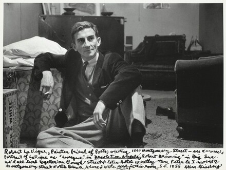 """Robert LaVigne, Painter friend of Poets, visiting 1010 Montgomery Street – see Kerouac's portrait of LaVigne as """"Levesque"""" in Desolation Angels, """"Robert Browning"""" in Big Sur. We'd all lived together on Gough Street & later Hotel Weatley thou Peter & I moved to Montgomery Street North Beach, where I wrote Howl in this room, S.F. 1955"""
