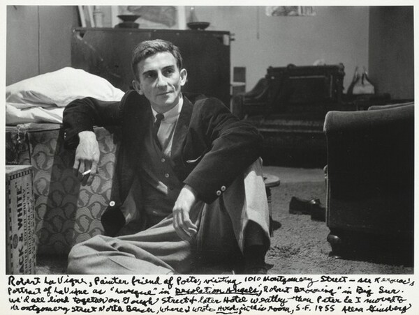 "Robert LaVigne, Painter friend of Poets, visiting 1010 Montgomery Street – see Kerouac's portrait of LaVigne as ""Levesque"" in Desolation Angels, ""Robert Browning"" in Big Sur. We'd all lived together on Gough Street & later Hotel Weatley thou Peter & I moved to Montgomery Street North Beach, where I wrote Howl in this room, S.F. 1955"