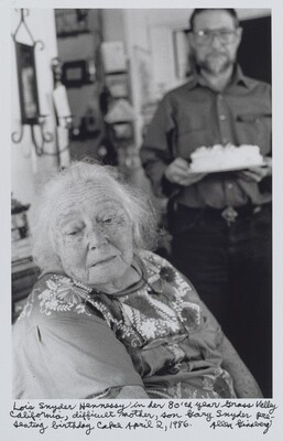 Lois Snyder Hennessy in her 80th year Grass Valley California, difficult mother, son Gary Snyder presenting birthday cake April 2, 1986.