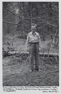 Julius Orlovsky in woods, hill behind Karme Chöling Meditation Center, St. Johnsbury, Vermont, September 3 Labor Day mushroom hunting, 1984.