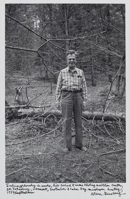 Julius Orlovsky in woods, hill behind Karme Chöling Meditation Center, St. Johnsbury, Vermont, September 3 Labor Day mushroom hunting, 1984.