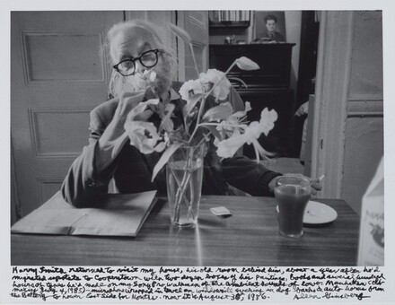 Harry Smith returned to visit my house, his old room behind him, about a year after he'd migrated upstate to Cooperstown with two dozen boxes of his paintings, books and several hundred hours of tapes he'd made on my Sony Pro Walkman of the ambient sounds of lower Manhattan (climaxing July 4, 1985) – microphone wrapped in towel on windowsill sucking in dog barks & auto horns from the battery to lower East Side for months. Now it is August 30th, 1986.