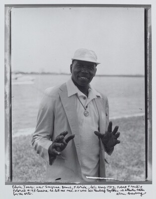 Elvin Jones, New Smyrna Beach, Florida, late May 1984, Robert Frank's Polaroid #195 camera he let me use. We were all teaching together at Atlantic Center for the Arts.