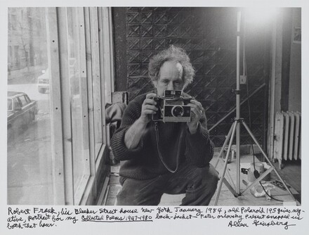 Robert Frank, his Bleeker Street house New York January 1984, old Polaroid 195 gives negative, portrait for my Collected Poems 1947-1980 back-jacket--Peter Orlovsky present snapped us both that hour.