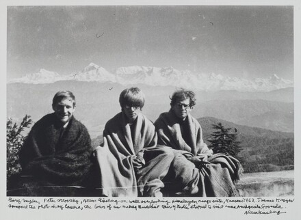Gary Snyder, Peter Orlovsky, Allen Ginsberg on wall overlooking Himalayan range vista, Kausani 1962. Joanne Kyger snapped the photo in my camera, the four of us making Buddhist tour of India stopped to visit Lama Anagarika Govinda.