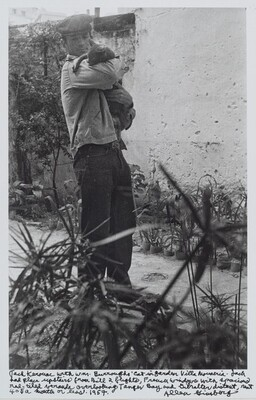 Jack Kerouac with Wm. Burroughs' cat in garden Villa Muniria. Jack had place upstairs from Bill 2 flights, French windows with spacious red-tiled veranda overlooking Tangier Bay and Gibraltar distant, rent 40$ a month or less. 1957.
