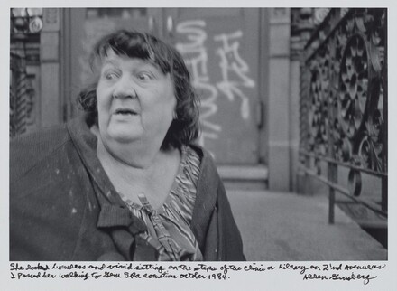 She looked homeless and vivid sitting on the steps of the clinic or Library on 2'nd Avenue as I passed her walking to Gem Spa sometime October 1984.