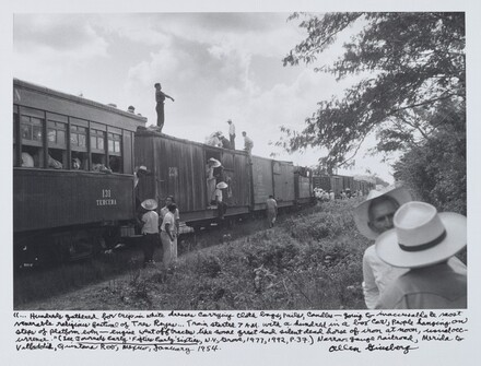 """…Hundreds gathered for trip in white dresses carrying cloth bags, pails, candles—going to inaccessible & most venerable religious festival of Tres Reyes…Train started 7 A.M. with a hundred in a box car, people hanging on steps of platform even—engine went off tracks like some great sad silent dead horse of iron at noon, usual occurrence."" (See Journals Early 'Fifties Early 'Sixties , N.Y., Grove, 1977, 1992, P.37.) Narrow-gauge railroad, Merida to Valladolid, Quintana Roo, Mexico, January 1954."