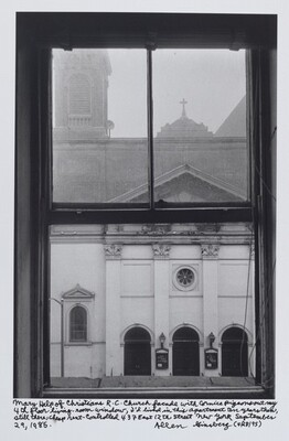 Mary Help of Christians R.C. Church facade with cornice pigeons out my 4th floor living-room window, I'd lived in this apartment ten years then, still there, cheap rent-controlled 437 East 12th Street New York September 29, 1985.