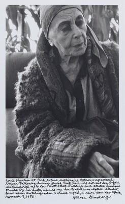 Louise Nevelson at Park Avenue millionaire Patron's apartment brunch gathering during Jewish Book Fair. I'd not met her before, she transported me to her Mott Street building in a stretch limousine provided by her hosts, showed me her combine-sculpture studio, gave me an autobiographic volume signed, I never saw her again, November 9, 1986.