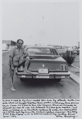 Robert Frank & his car rented for him by Atlantic Center For Arts where we taught together three weeks with jazz drum genius Elvin Jones. We'd come to town New Smyrna Beach on errands, he showed me how to use his polaroid 195 that gives negative, but when we washed it in his plastic container of water, car-heat-cooked in Florida mid-day sun, the emulsion cracked, dissolved—this copy print from original is o.k. to catch his smile at my amateur focus, June 1984.