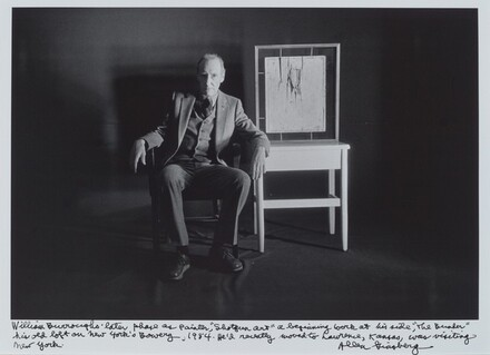 William Burroughs' later phase as painter, Shotgun art a beginning work at his side, The Bunker his old loft on New York's Bowery, 1984. He'd recently moved to Lawerence, Kansas, was visiting New York.